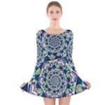 Power Spiral Polygon Blue Green White Long Sleeve Velvet Skater Dress
