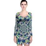 Power Spiral Polygon Blue Green White Long Sleeve Velvet Bodycon Dress