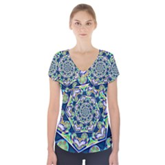 Power Spiral Polygon Blue Green White Short Sleeve Front Detail Top by EDDArt