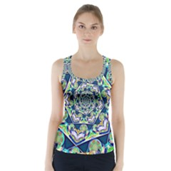 Power Spiral Polygon Blue Green White Racer Back Sports Top by EDDArt