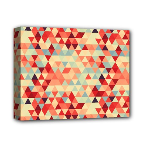 Modern Hipster Triangle Pattern Red Blue Beige Deluxe Canvas 14  X 11  by EDDArt
