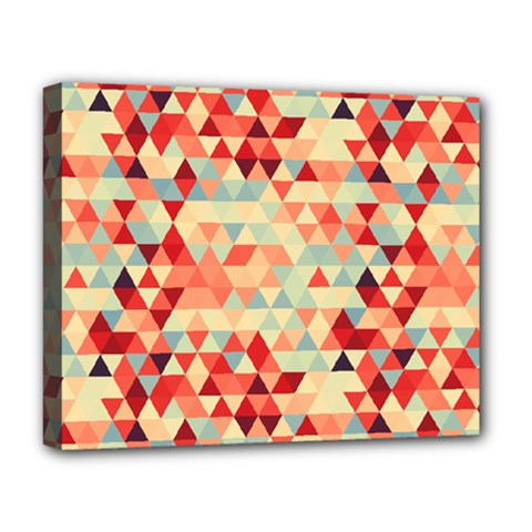 Modern Hipster Triangle Pattern Red Blue Beige Deluxe Canvas 20  X 16   by EDDArt