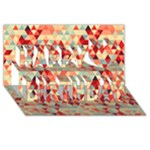 Modern Hipster Triangle Pattern Red Blue Beige Happy Birthday 3D Greeting Card (8x4)