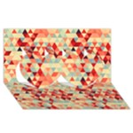 Modern Hipster Triangle Pattern Red Blue Beige Twin Hearts 3D Greeting Card (8x4)