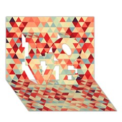Modern Hipster Triangle Pattern Red Blue Beige Love 3d Greeting Card (7x5) by EDDArt