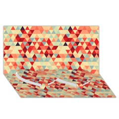 Modern Hipster Triangle Pattern Red Blue Beige Twin Heart Bottom 3d Greeting Card (8x4) by EDDArt