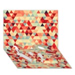 Modern Hipster Triangle Pattern Red Blue Beige LOVE Bottom 3D Greeting Card (7x5)