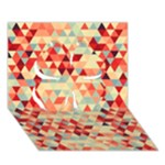 Modern Hipster Triangle Pattern Red Blue Beige Clover 3D Greeting Card (7x5)