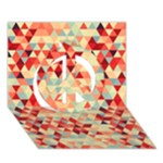 Modern Hipster Triangle Pattern Red Blue Beige Peace Sign 3D Greeting Card (7x5)