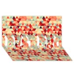Modern Hipster Triangle Pattern Red Blue Beige BEST BRO 3D Greeting Card (8x4)