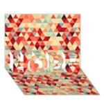 Modern Hipster Triangle Pattern Red Blue Beige HOPE 3D Greeting Card (7x5)