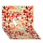 Modern Hipster Triangle Pattern Red Blue Beige Ribbon 3D Greeting Card (7x5)
