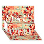 Modern Hipster Triangle Pattern Red Blue Beige Get Well 3D Greeting Card (7x5)