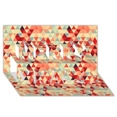Modern Hipster Triangle Pattern Red Blue Beige Merry Xmas 3d Greeting Card (8x4) by EDDArt