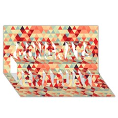 Modern Hipster Triangle Pattern Red Blue Beige Congrats Graduate 3d Greeting Card (8x4) by EDDArt