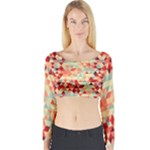 Modern Hipster Triangle Pattern Red Blue Beige Long Sleeve Crop Top