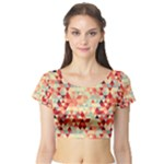Modern Hipster Triangle Pattern Red Blue Beige Short Sleeve Crop Top (Tight Fit)