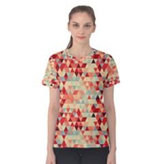 Modern Hipster Triangle Pattern Red Blue Beige Women s Cotton Tee by EDDArt