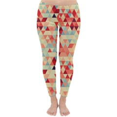Modern Hipster Triangle Pattern Red Blue Beige Winter Leggings  by EDDArt