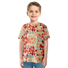 Modern Hipster Triangle Pattern Red Blue Beige Kids  Sport Mesh Tee by EDDArt