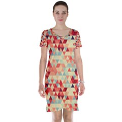 Modern Hipster Triangle Pattern Red Blue Beige Short Sleeve Nightdress by EDDArt