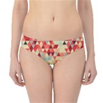 Modern Hipster Triangle Pattern Red Blue Beige Hipster Bikini Bottoms