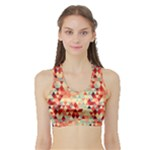 Modern Hipster Triangle Pattern Red Blue Beige Sports Bra with Border