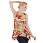 Modern Hipster Triangle Pattern Red Blue Beige Side Drop Tank Tunic