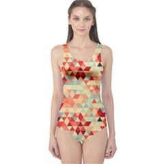 Modern Hipster Triangle Pattern Red Blue Beige One Piece Swimsuit by EDDArt