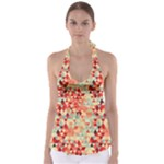 Modern Hipster Triangle Pattern Red Blue Beige Babydoll Tankini Top
