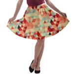 Modern Hipster Triangle Pattern Red Blue Beige A-line Skater Skirt