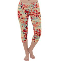 Modern Hipster Triangle Pattern Red Blue Beige Capri Yoga Leggings by EDDArt