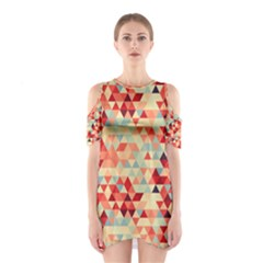 Modern Hipster Triangle Pattern Red Blue Beige Cutout Shoulder Dress by EDDArt