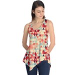 Modern Hipster Triangle Pattern Red Blue Beige Sleeveless Tunic