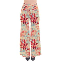 Modern Hipster Triangle Pattern Red Blue Beige Pants by EDDArt