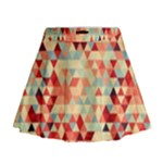 Modern Hipster Triangle Pattern Red Blue Beige Mini Flare Skirt