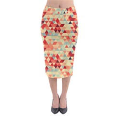 Modern Hipster Triangle Pattern Red Blue Beige Midi Pencil Skirt by EDDArt