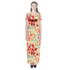 Modern Hipster Triangle Pattern Red Blue Beige Short Sleeve Maxi Dress by EDDArt