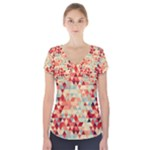 Modern Hipster Triangle Pattern Red Blue Beige Short Sleeve Front Detail Top