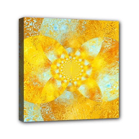 Gold Blue Abstract Blossom Mini Canvas 6  X 6  by designworld65