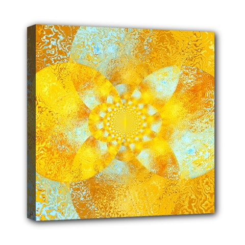 Gold Blue Abstract Blossom Mini Canvas 8  X 8  by designworld65