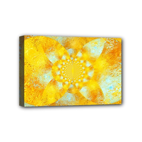 Gold Blue Abstract Blossom Mini Canvas 6  X 4  by designworld65