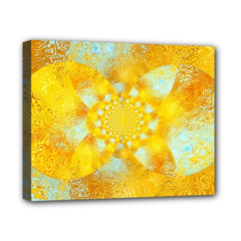 Gold Blue Abstract Blossom Canvas 10  X 8  by designworld65