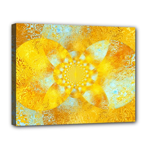 Gold Blue Abstract Blossom Canvas 14  X 11  by designworld65