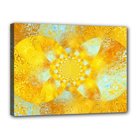 Gold Blue Abstract Blossom Canvas 16  X 12  by designworld65