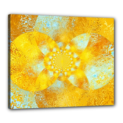 Gold Blue Abstract Blossom Canvas 24  X 20  by designworld65