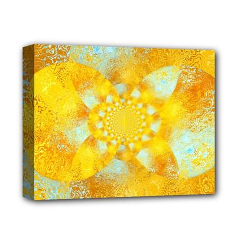 Gold Blue Abstract Blossom Deluxe Canvas 14  X 11  by designworld65