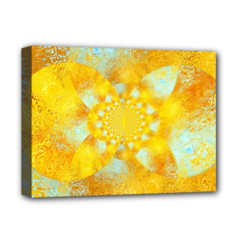 Gold Blue Abstract Blossom Deluxe Canvas 16  X 12   by designworld65