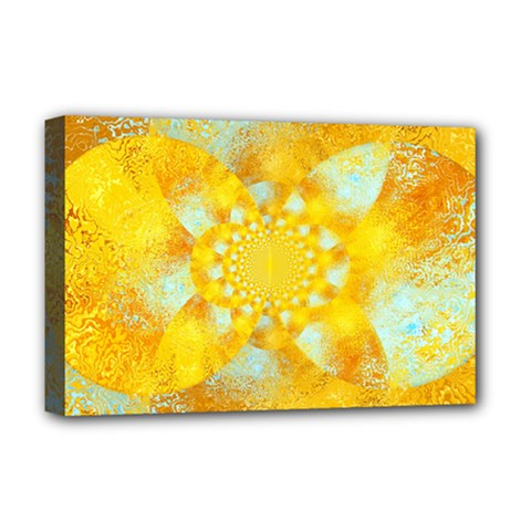 Gold Blue Abstract Blossom Deluxe Canvas 18  X 12   by designworld65