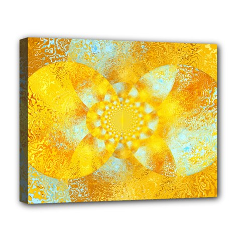 Gold Blue Abstract Blossom Deluxe Canvas 20  X 16   by designworld65